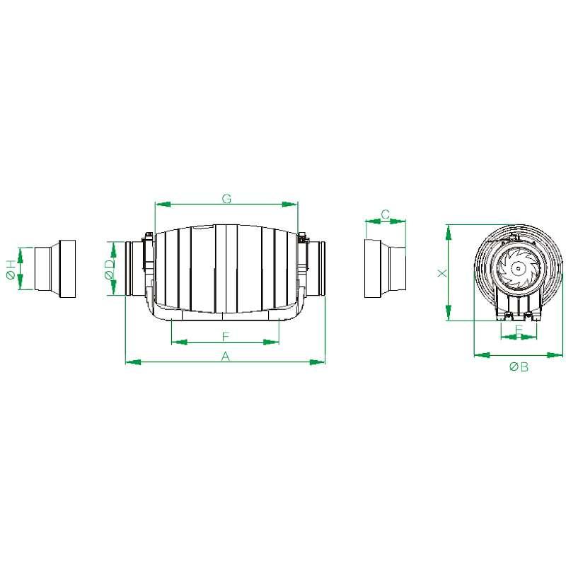 BVN BAHÇIVAN BMFX-ST 100/2V PLASTİK YUVARLAK KANAL FANLARI KARMA AKIŞLI